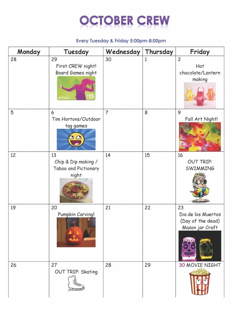 October CREW Calendar 2015